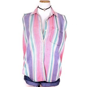 90s Striped Colorful Sleeveless Button Down Top L